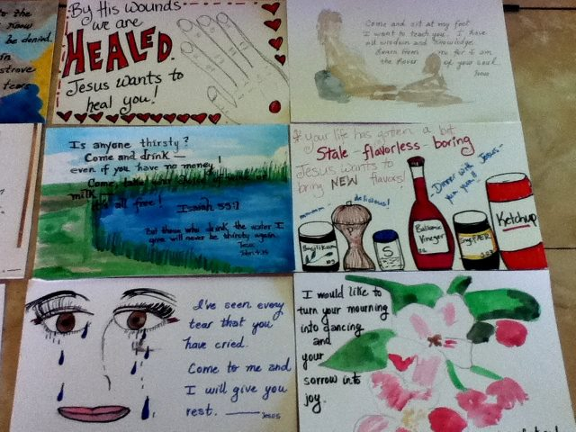Some of the prophetic cards that we painted to witness to people.