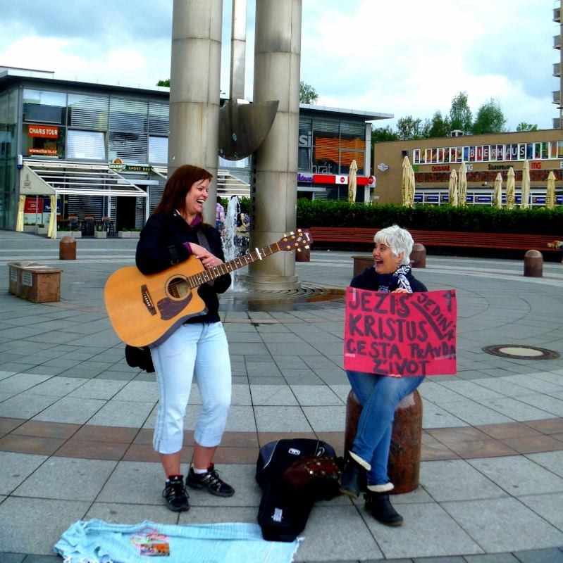 Tereza and Kim worshiping on the streets.