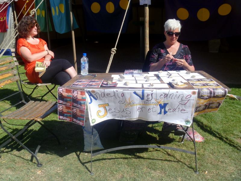 Bre and Kim at the prophetic cards table.